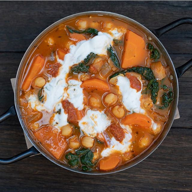 Chickpea, Kale and Carrot Stew, Mint Yoghurt, Harissa. Featuring on our July Vegan Degustation menu every Tuesday night.  Call 03 9417 4510 to book!  To check out the rest of the menu and for more details go to www.tahinabar.com/Degustation ✨