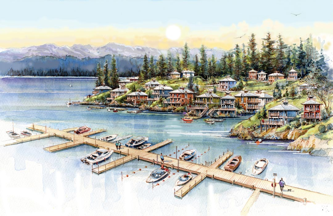 SPIRIT BAY - METCHOSIN, VANCOUVER ISLAND - FALL 2015    LUXURY RESORT DEVELOPMENT   A new development in Metchosin in a joint venture by the Sc'ianew First Nation and the Trust for Sustainable Development. In preliminary discussions with David Butterfield, President of Sustainable Development to engage in an agreement to prepare a full-fledged business plan in order to obtain financing for this multi-million dollar resort project. The resort will include tent-house suites, hotel rooms, wellness centre and spa, and a conference centre. It is part of a larger development that is building a new town on the southern tip of Vancouver Island, 35 minutes away from Victoria. With over 350 moorings in their marina on the ocean, it will be a popular destination for locals and tourists.