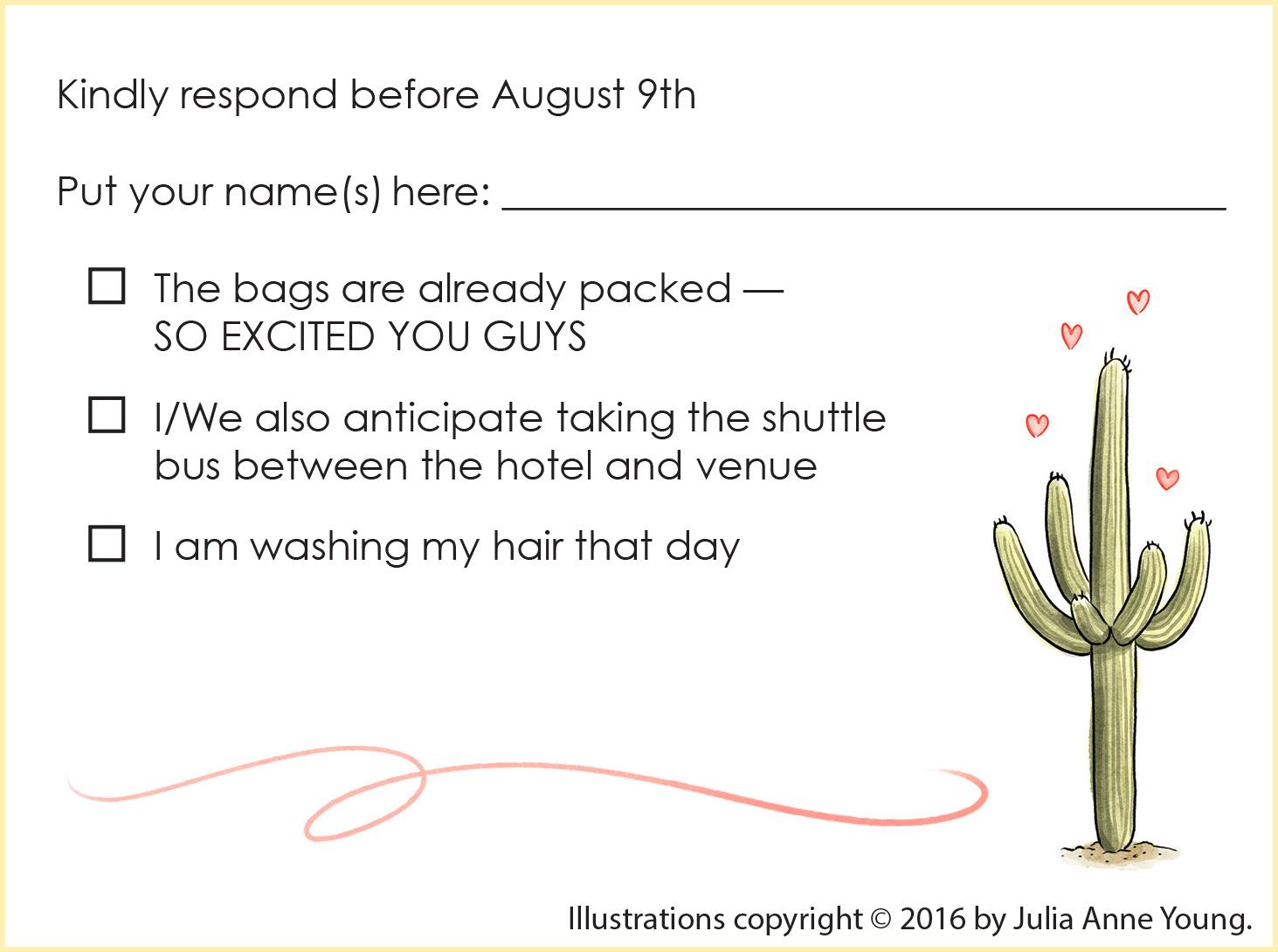 Custom Illustrated Wedding RSVP Card