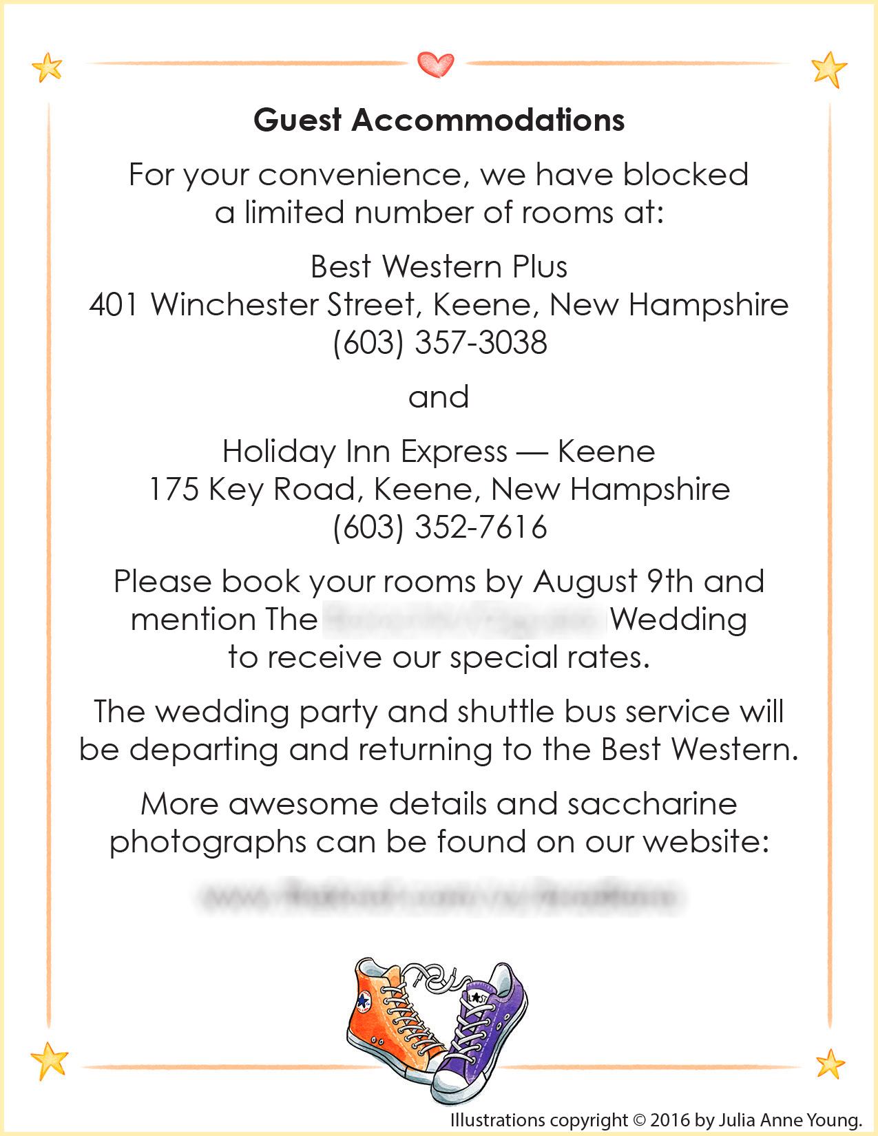 Custom Illustrated Wedding Invitation Info Sheet
