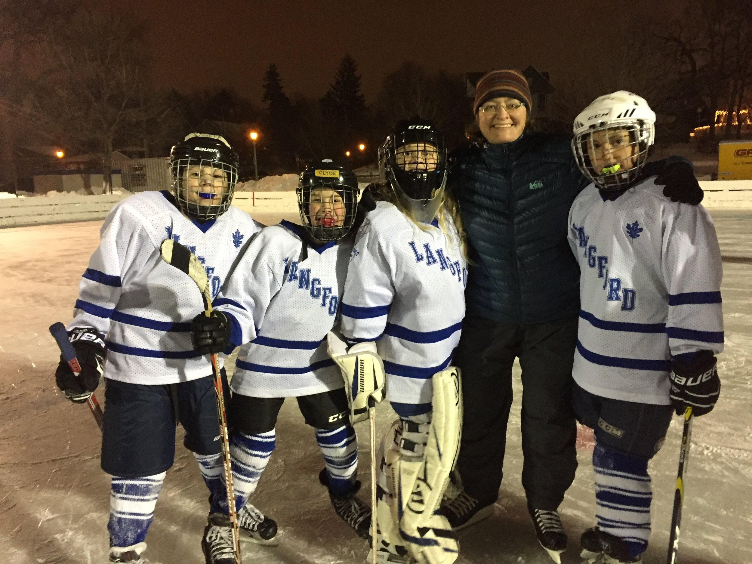 Langford Park SAP Skaters Zander, Clyde, Emory, and Nolan with Principal Duke