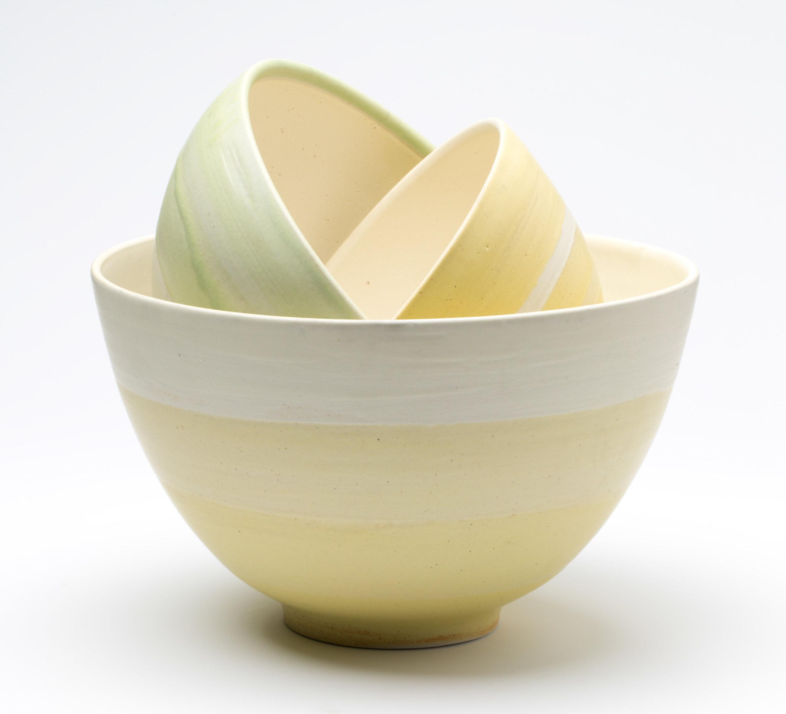 """Bowl Set  Cone 10 Oxidation Porcelain  Large Bowl 10.25"""" W x 10"""" H  2016"""