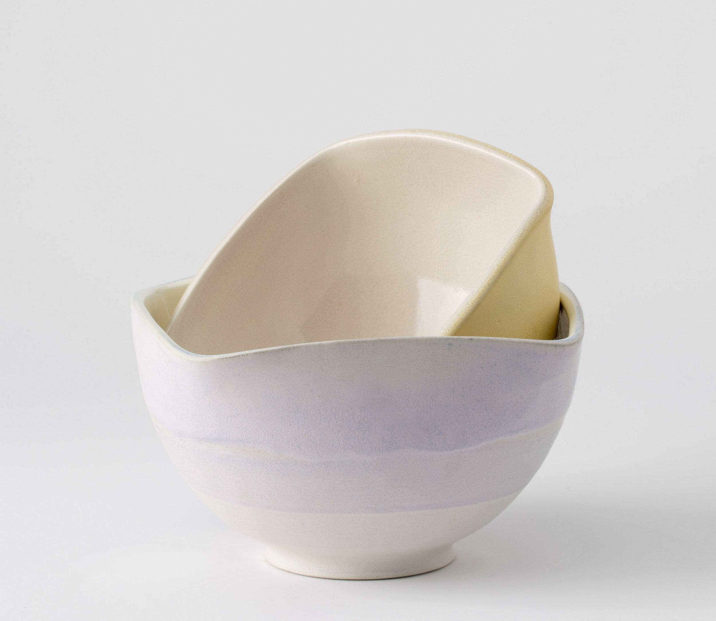 "Squared Bowls  Cone 10 Oxidation Porcelain  Bottom Bowl 7"" W x 7.25"" H  2016"