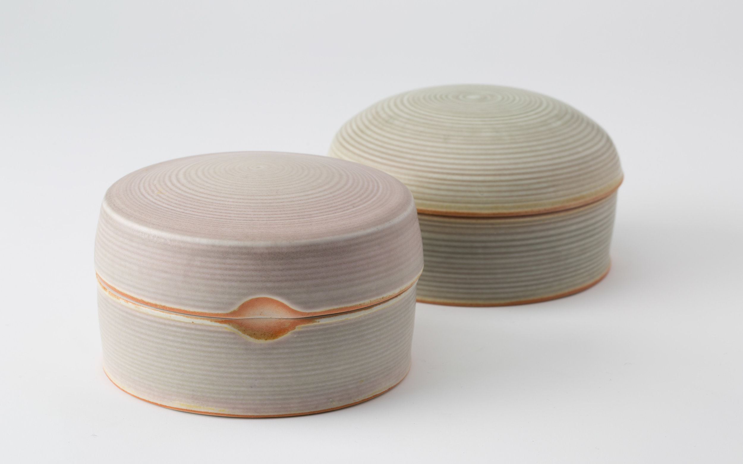 "Boxes  Cone 10 Reduction Porcelain  Pink/Purple Box 3.75"" W x 3"" H  2016"