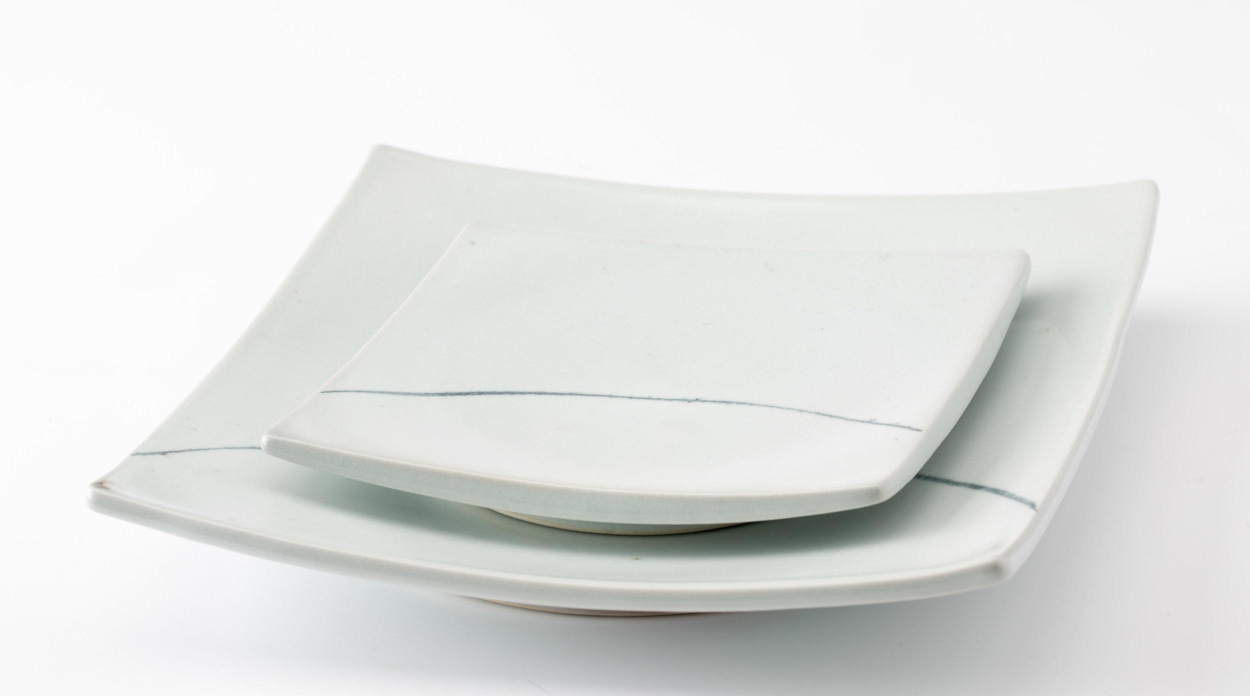 """Horizon Plates  Cone 10 Reduction Porcelain  7.25"""" W x 3"""" H  2016"""