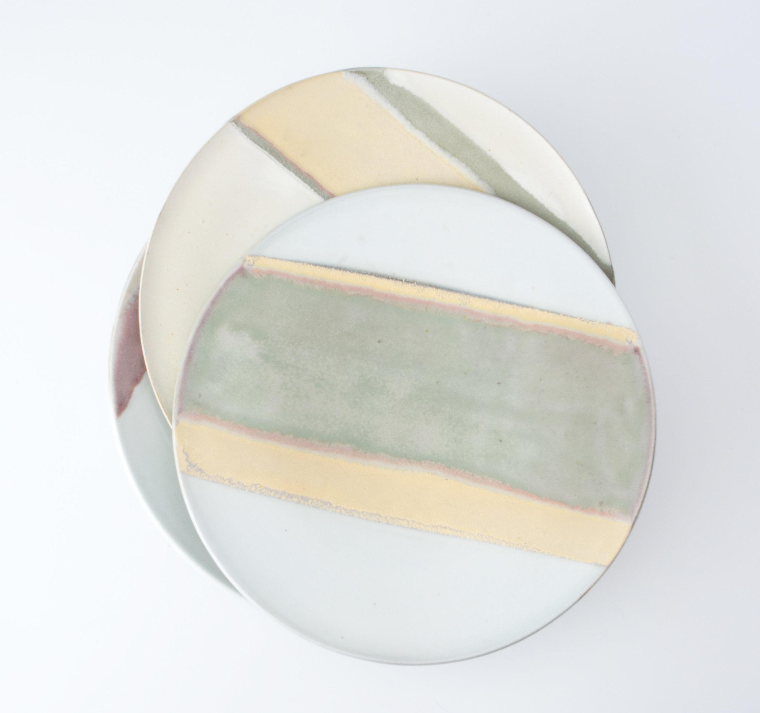"Canvas Plates  Cone 10 Reduction Porcelain  Top Plate 9.75"" W x 2"" H  2016"