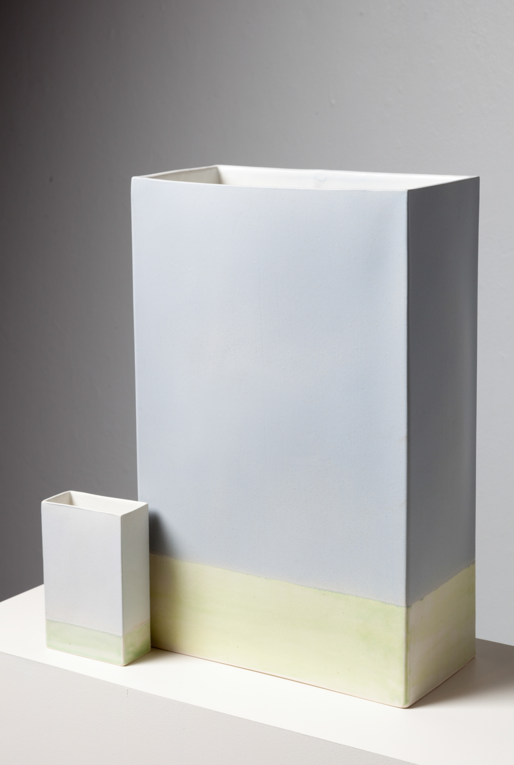 """Fabricated Slip Cast Rectangular Vessel and Maquette  (cast from a CNC milled plaster molds)  Cone 10 Oxidation White Stoneware  Larger Form 9"""" W"""" x 19"""" L x 22"""" H  2016"""