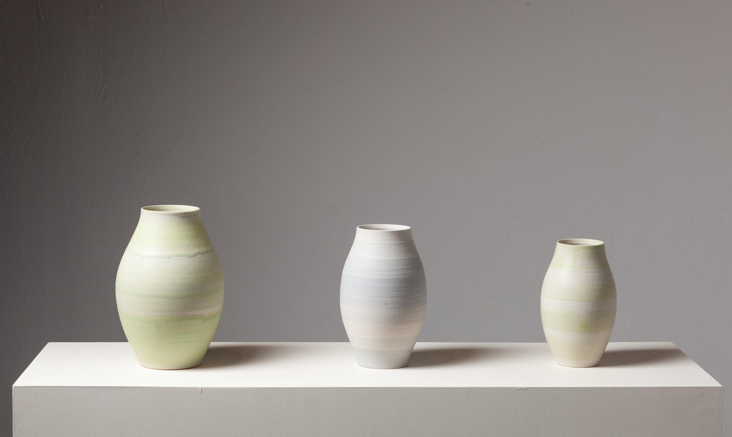 "Three Vases  Cone 10 Oxidation Porcelain  Larger Vase 8"" W x 10"" H  2016"