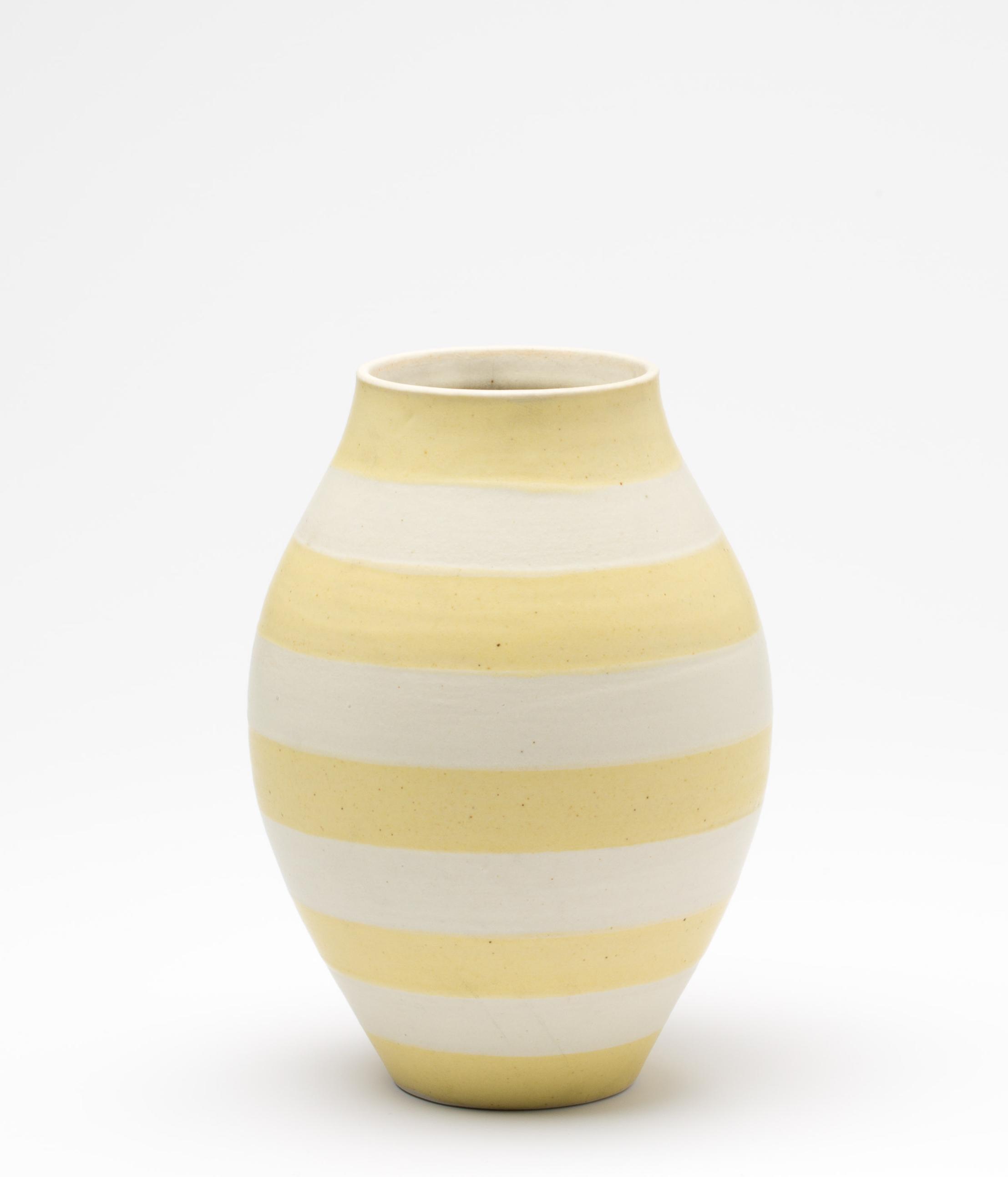 "Striped Vase  Cone 10 Oxidation Porcelain  5"" W x 7"" H  2016"
