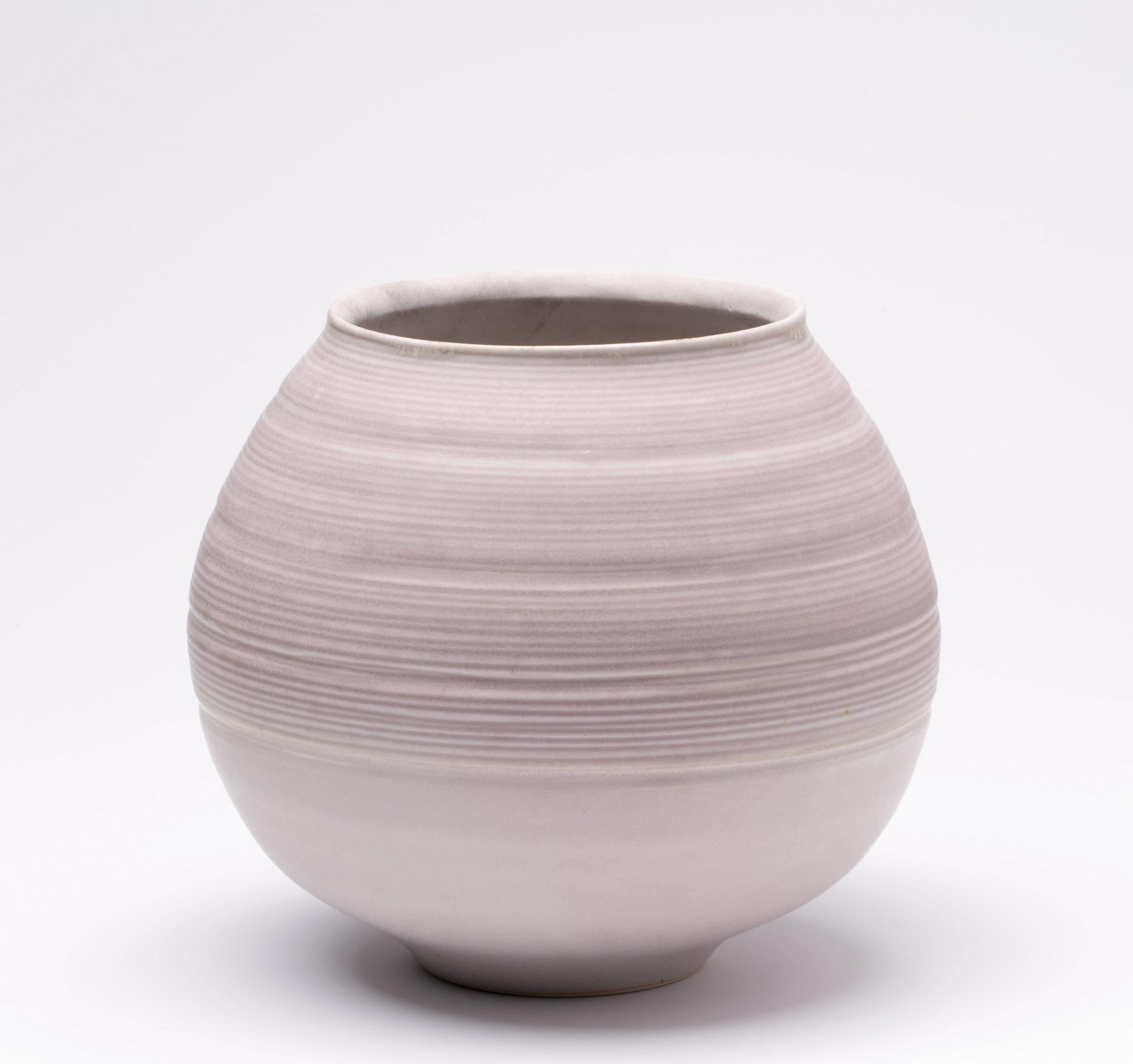 """Bulbous Vase  Cone 10 Reduction Porcelain  7.5"""" W x 7.25"""" H  2016"""
