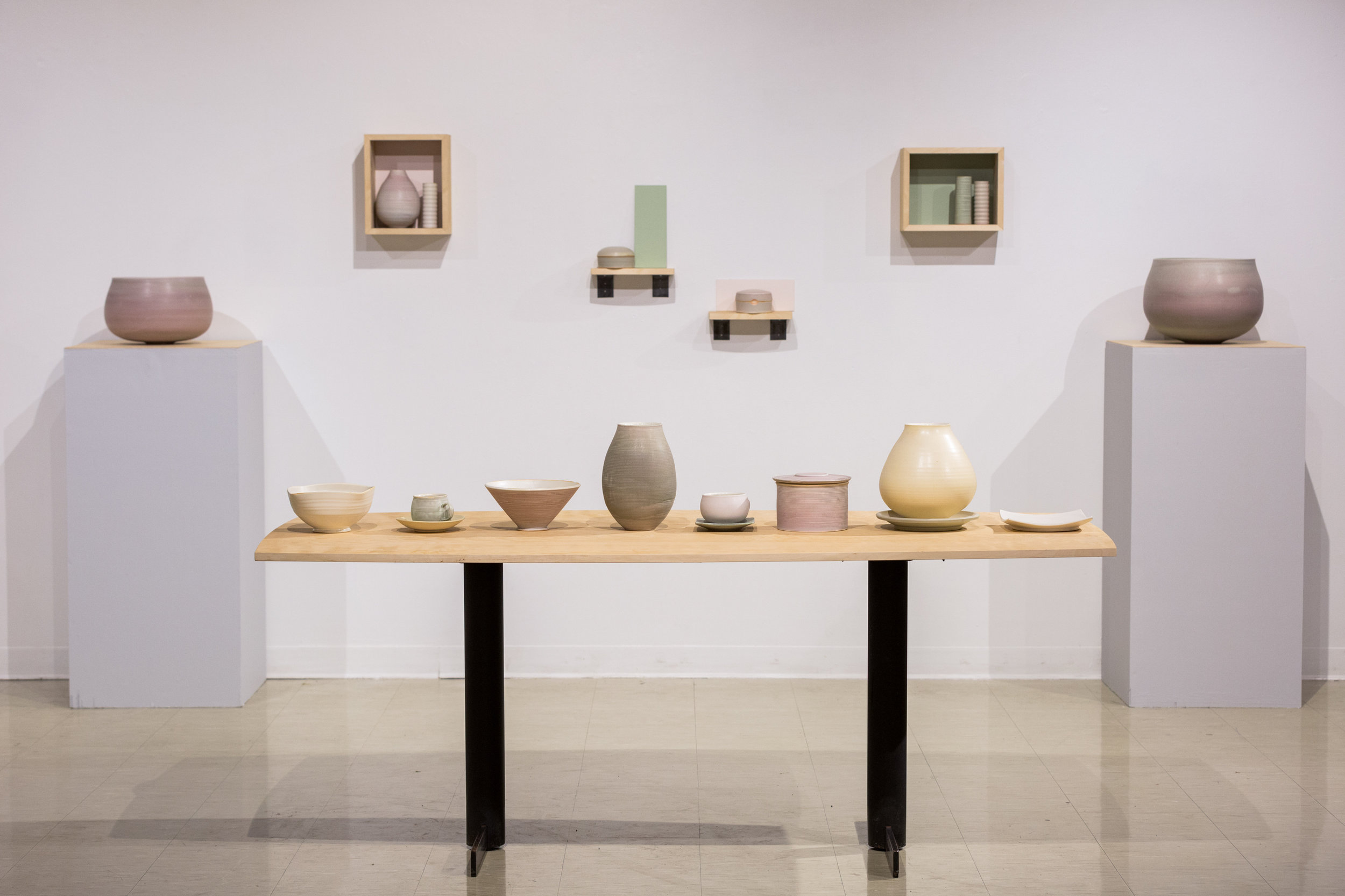 Installation  Cone 10 Reduction Porcelain Objects  Table 8' L x 4' W x 3' H  2016