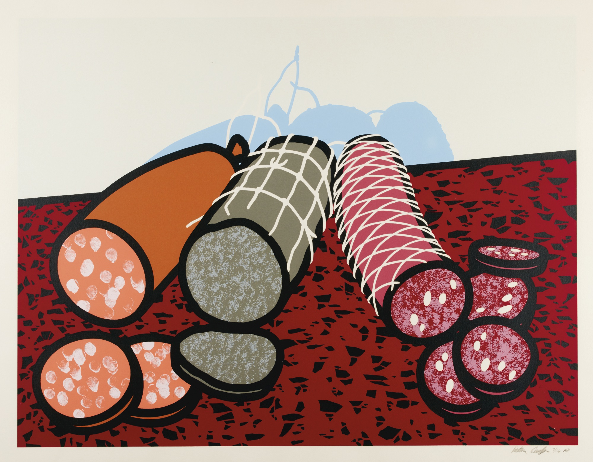 Three Sausages (C. 54) (1978) by Patrick Caulfield, R.A.,Estimate £800 — £1,200