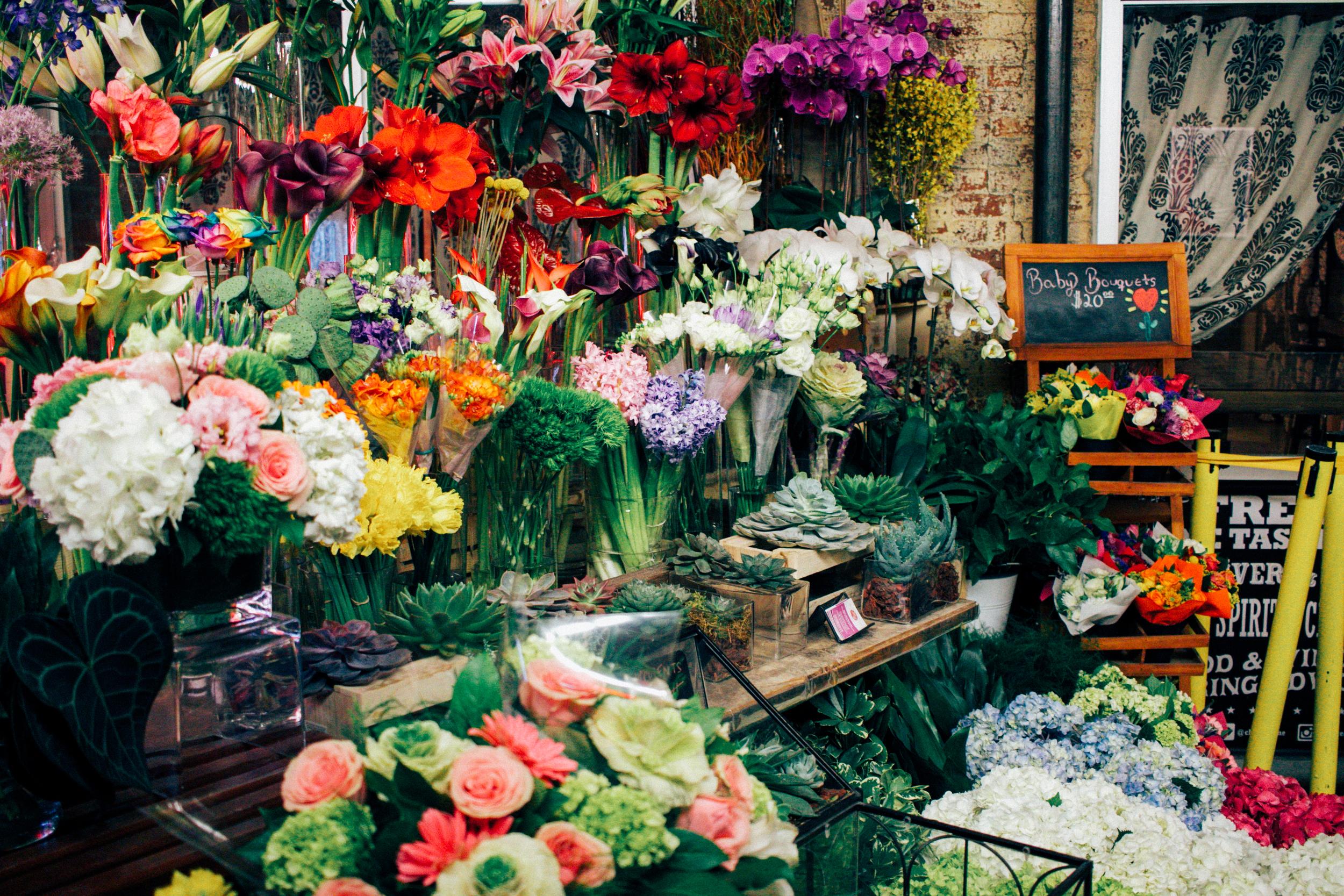 Fresh flowers in Chelsea Market