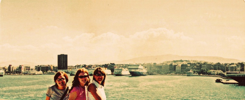Leaving Athens, Greece to cruise the Grecian Islands in 2002.
