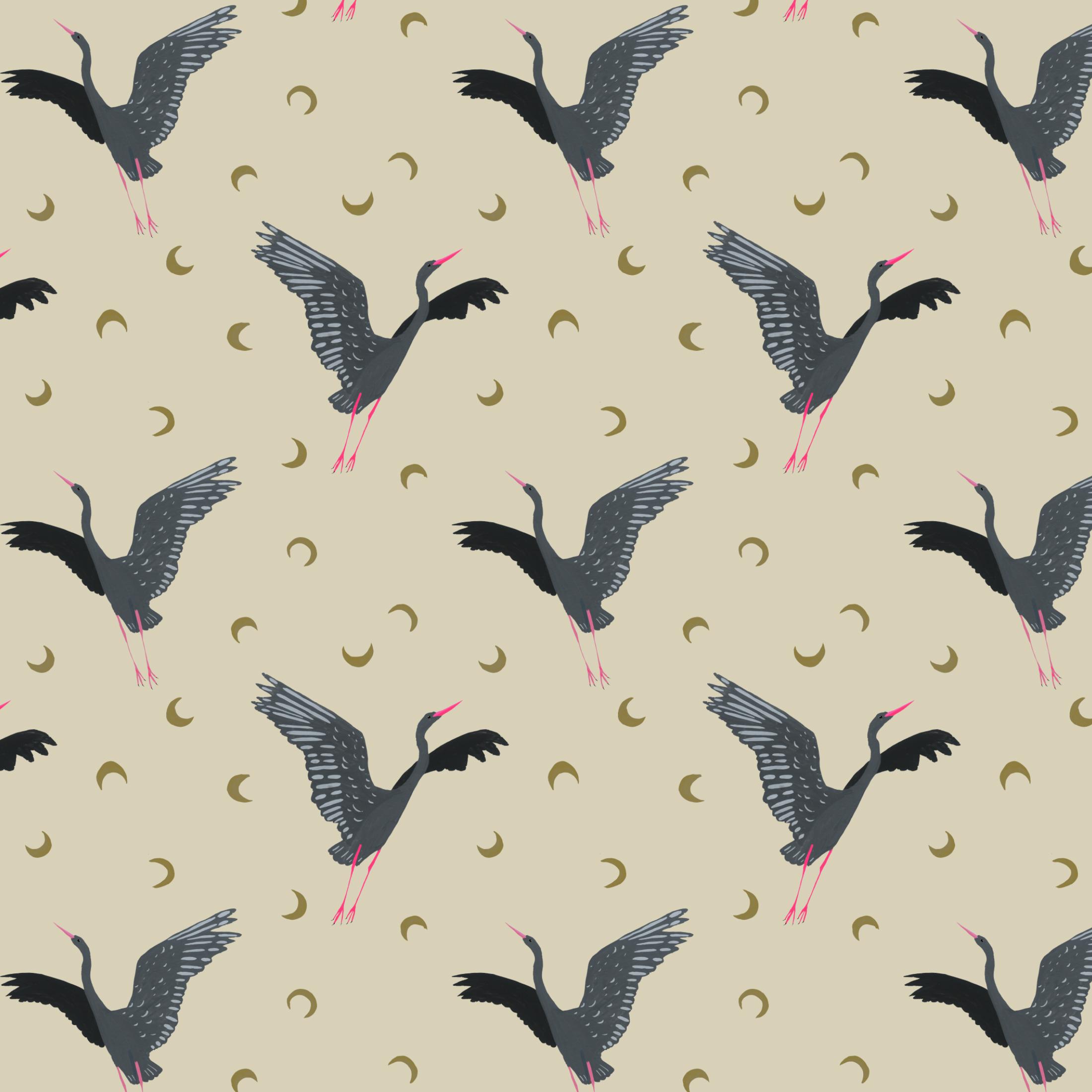 grey heron in flight pattern