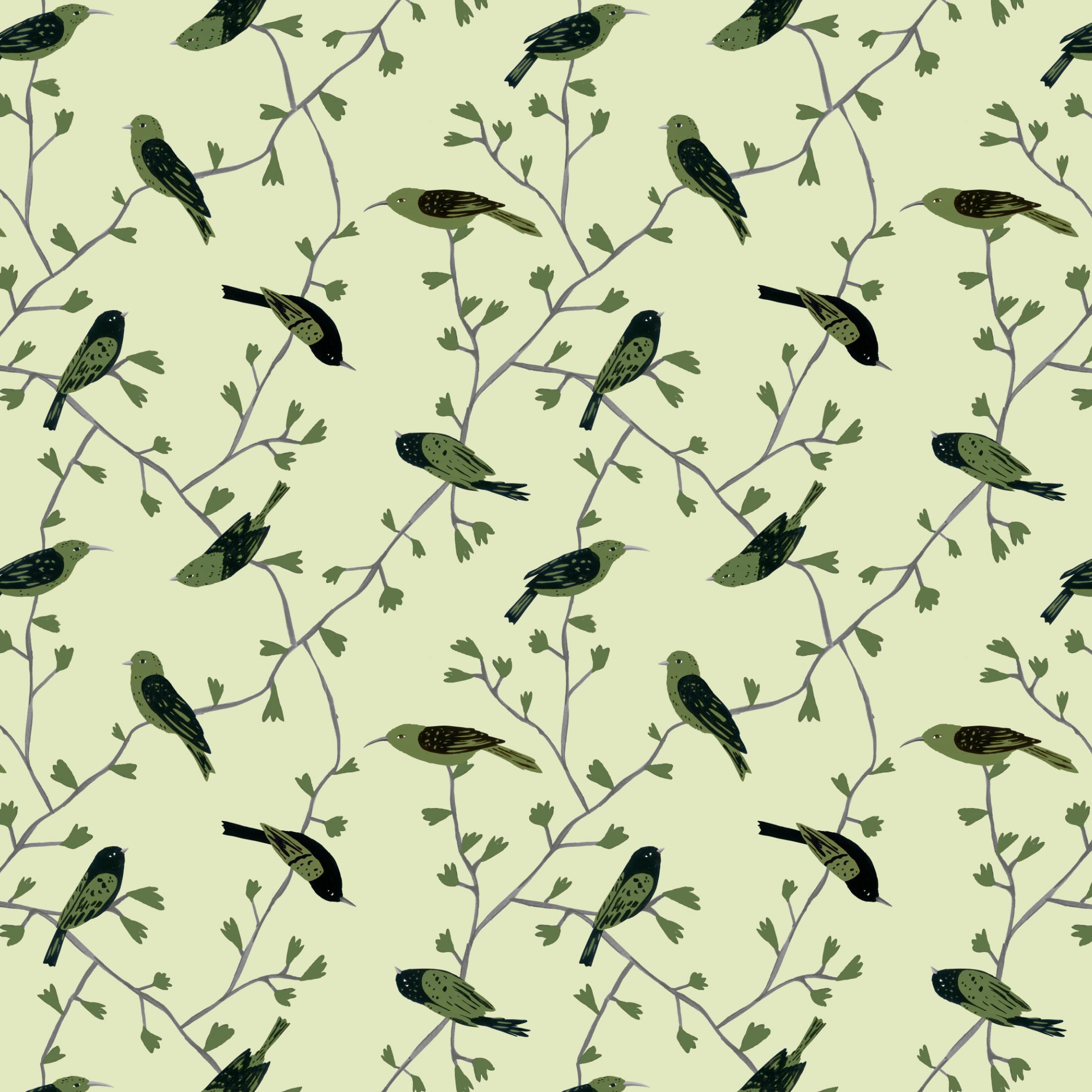 green birds in vines pattern