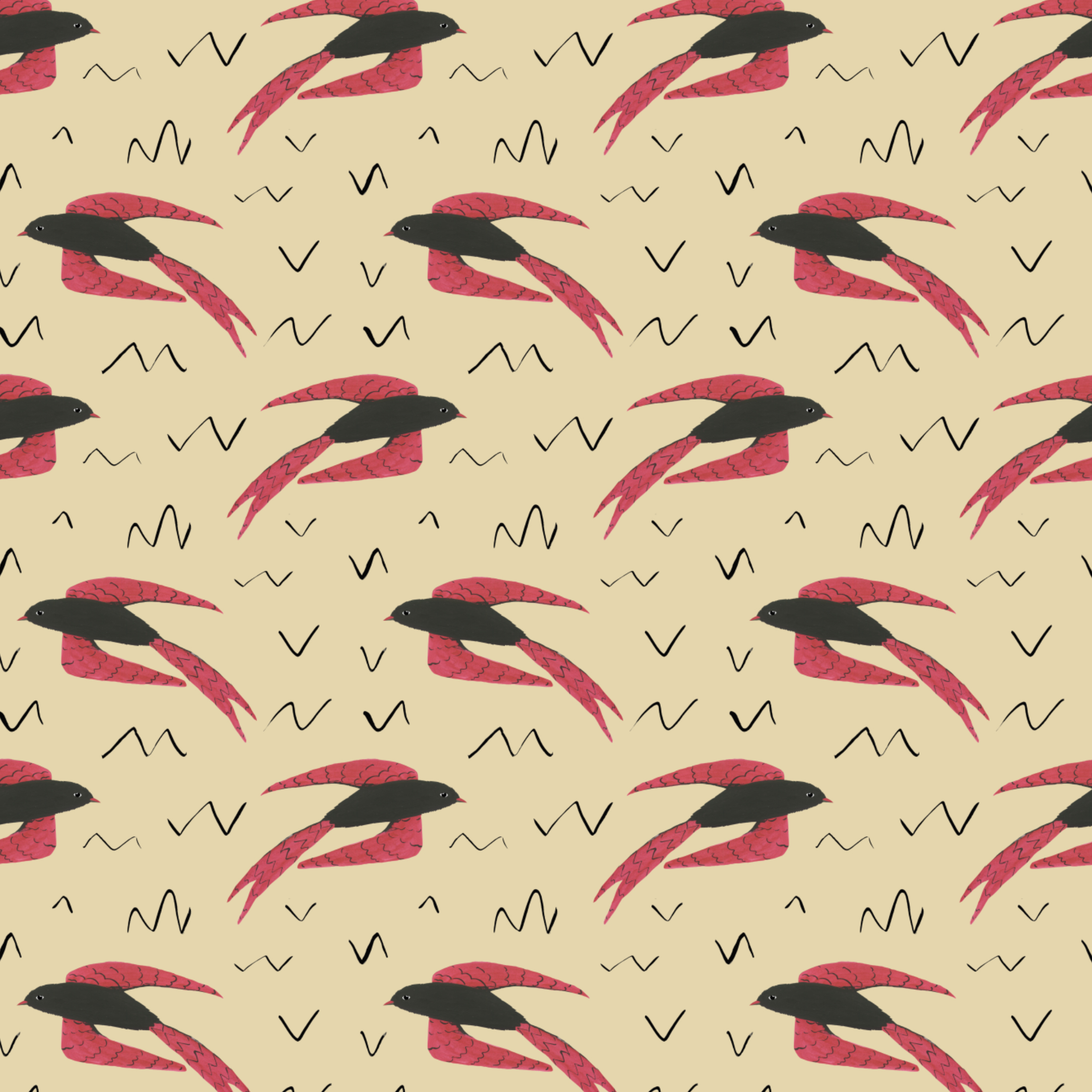 bird and scribbles pattern