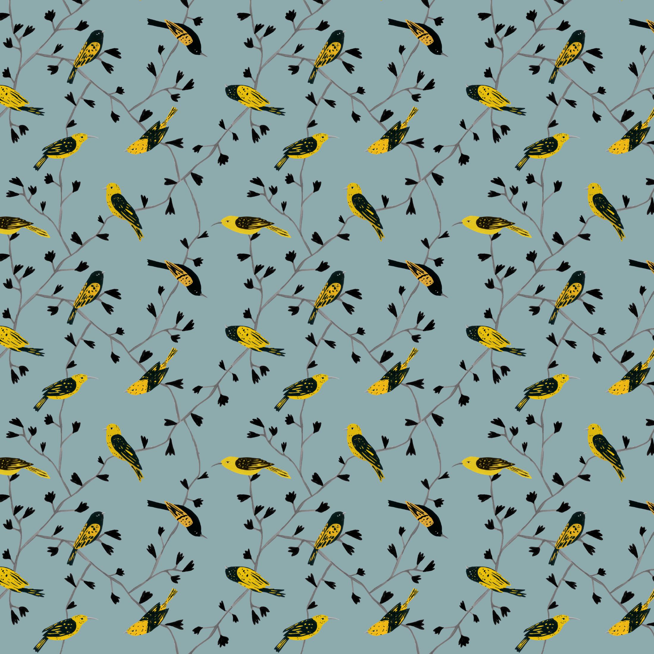 yellow birds in vines pattern