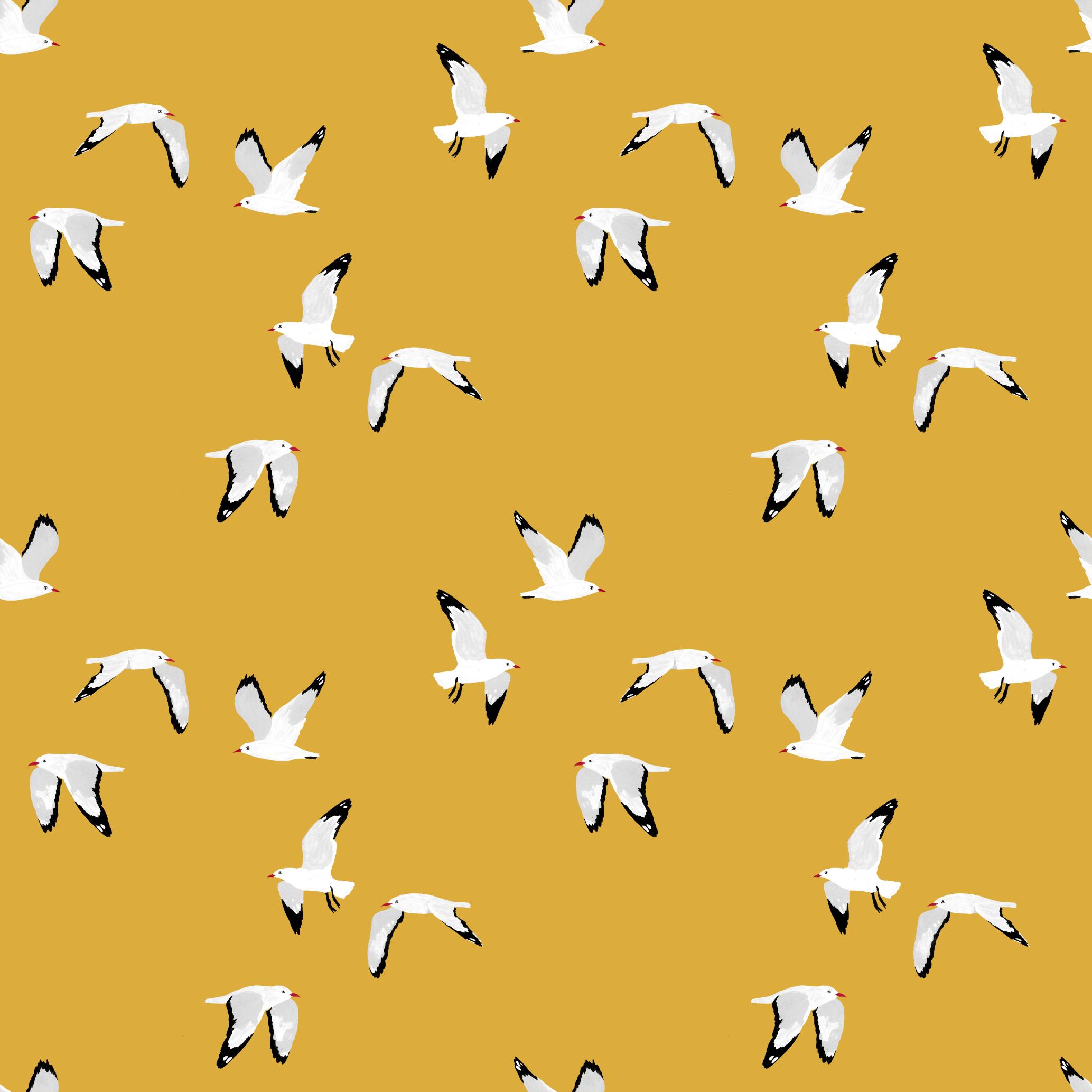 melissa boardman seagulls scatter pattern mustard.png