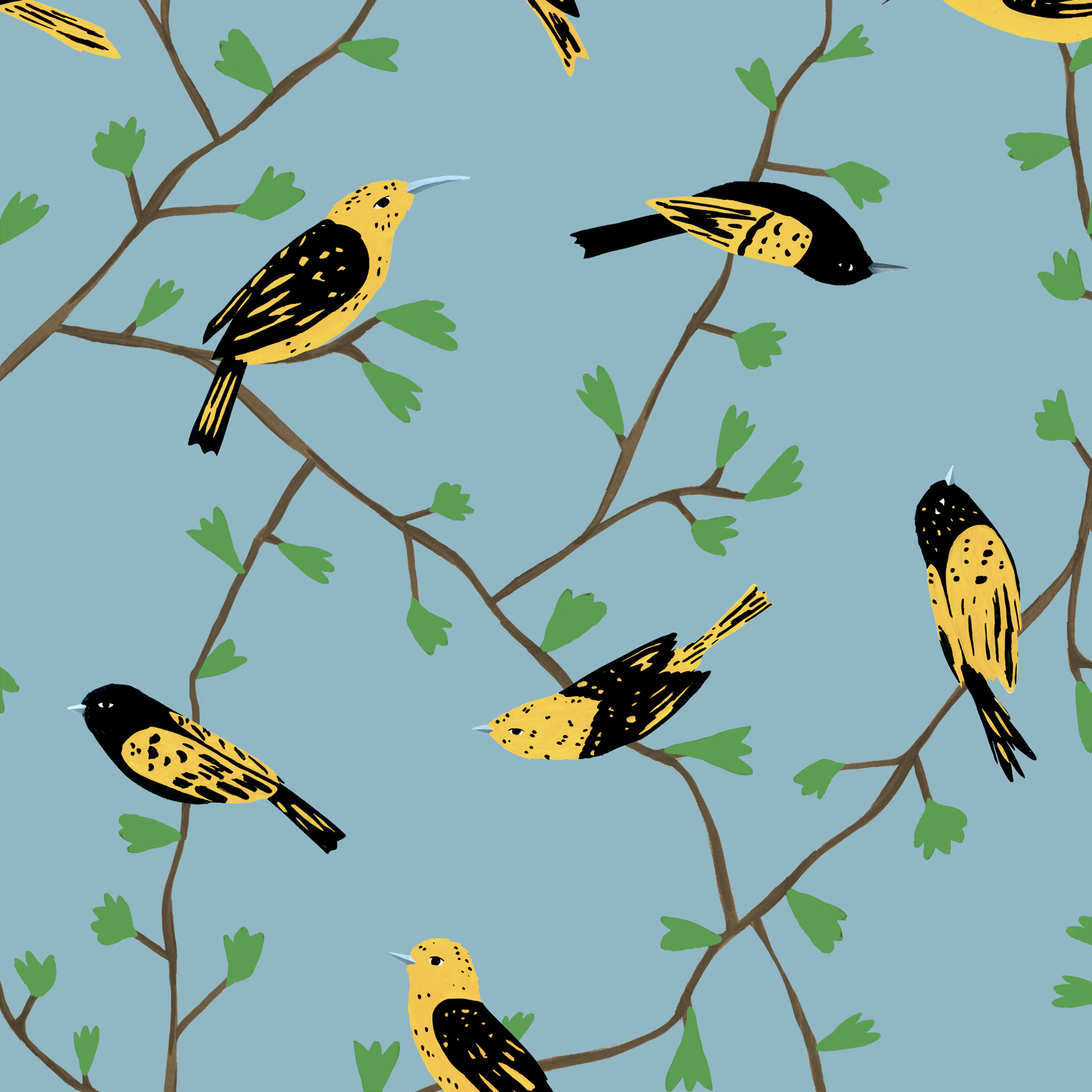 melissa boardman yellow birds in vines pattern blue.png