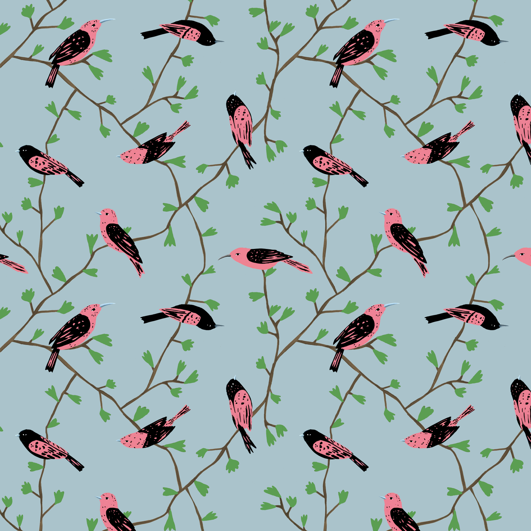 melissa boardman pink birds in vines pattern blue.png