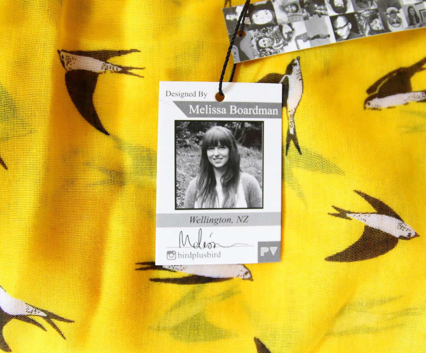 melissa boardman yellow swallows scarf closeup.JPG