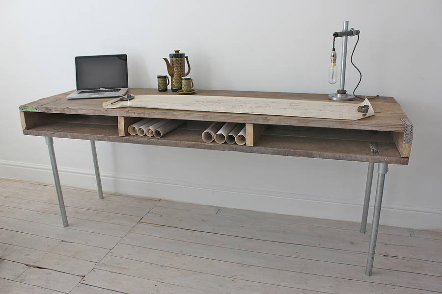 Reclaimed Wood Desk With Steel Legs by INSPIRIT