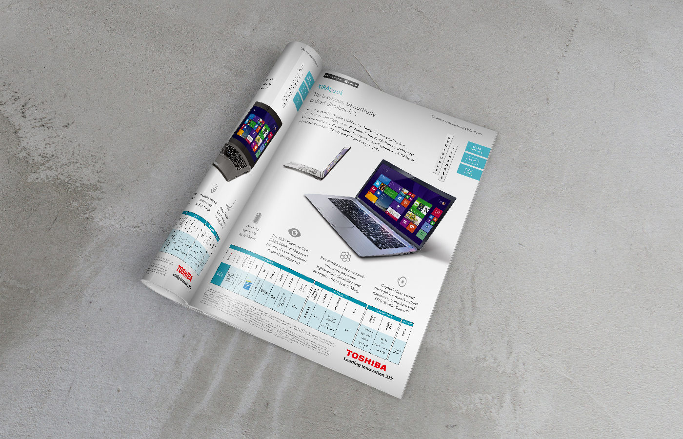 Toshiba business range brochure design product spread