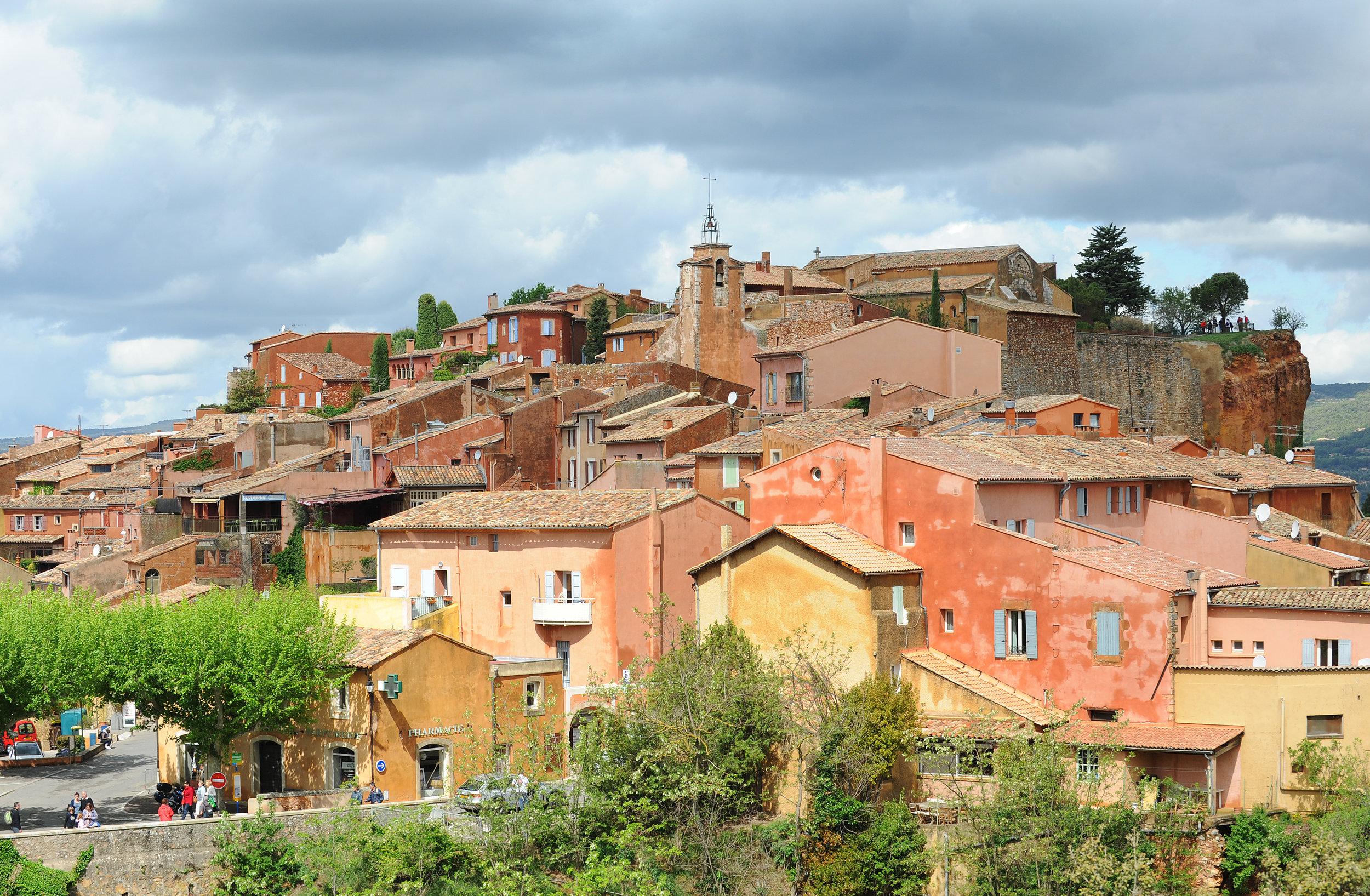 Roussillion, Provence, Ranska, kylä, kaunis, automatka