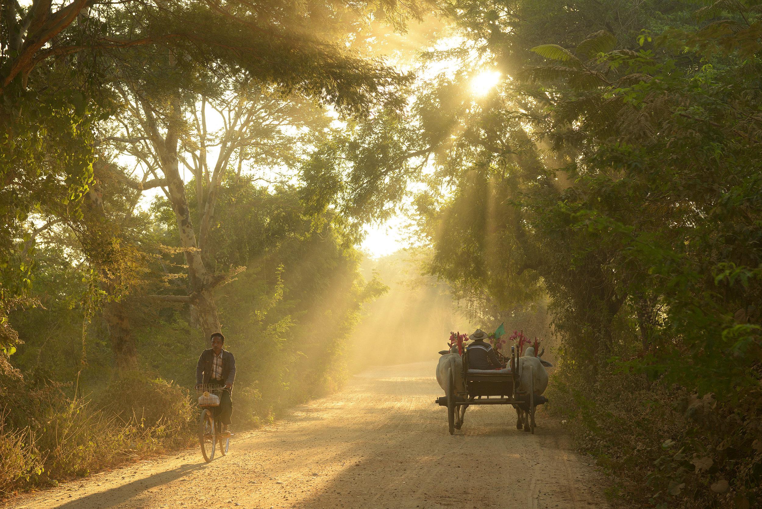 Bagan, kärryt, Myanmar, Burma, auringonnousu
