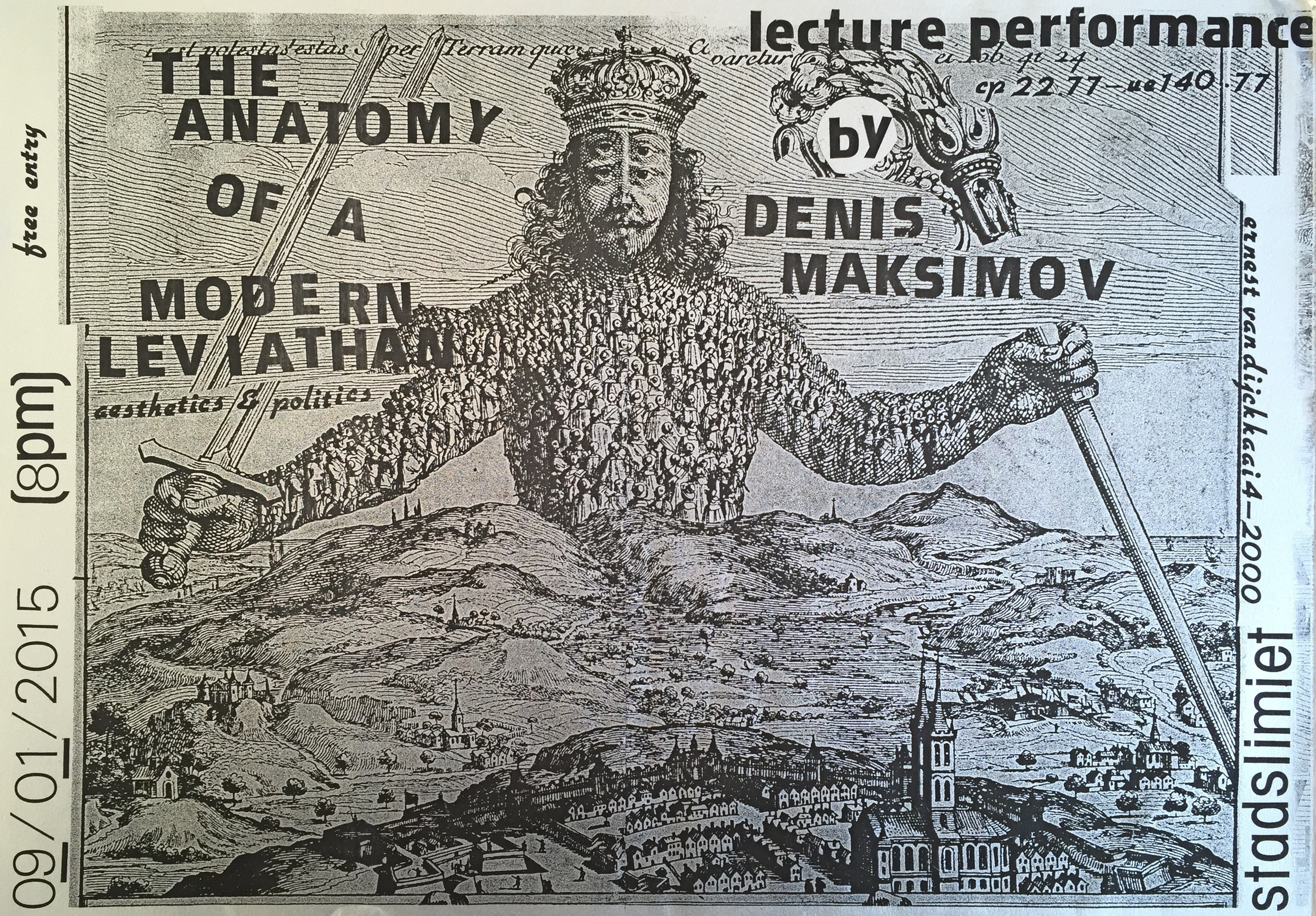 "Vaast Colson, ""The Anatomy of Modern Leviathan"", the poster for lecture-performance by Denis Maksimov/AVENIR INSTITUTE, Antwerp (BE), 2015"