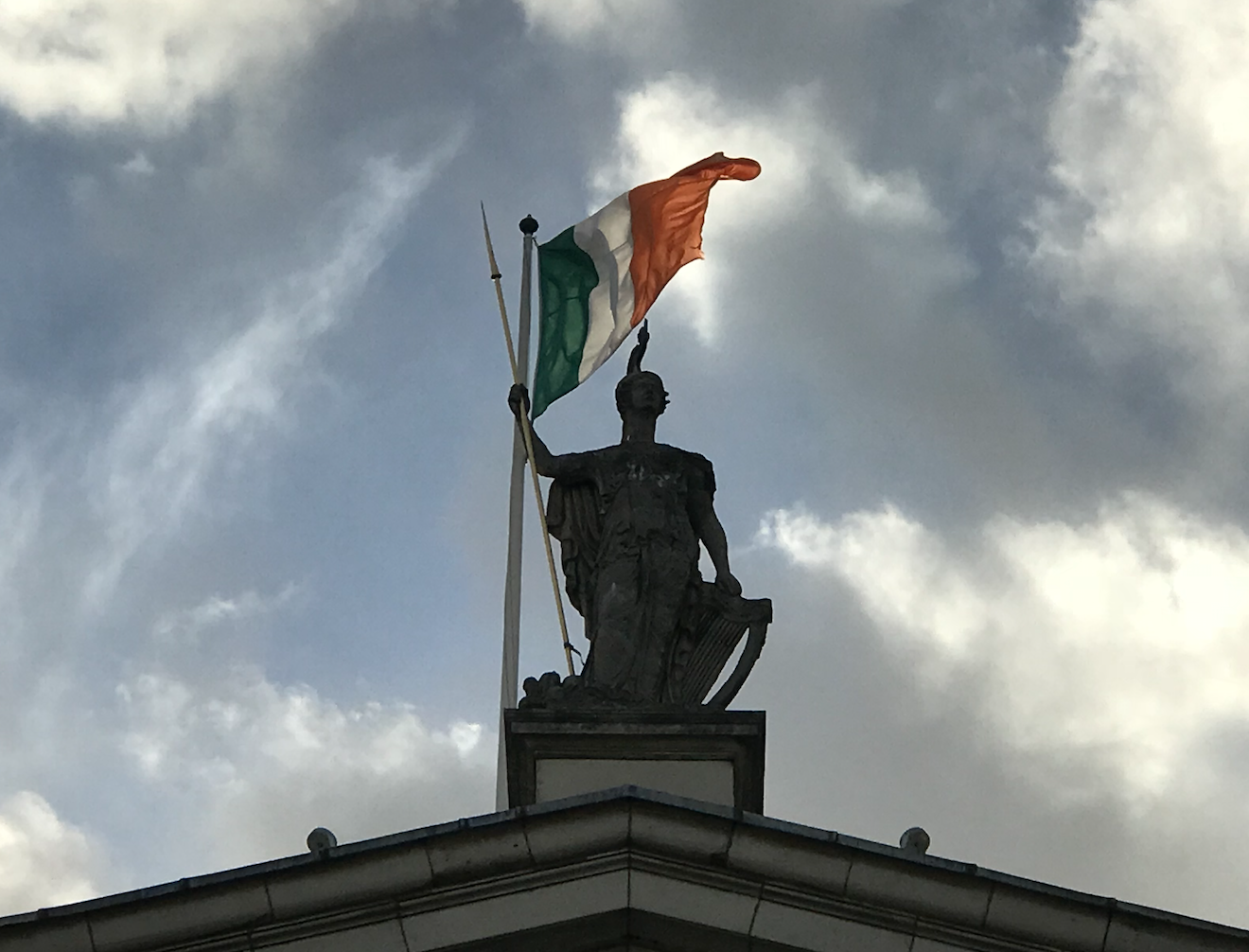 "AVENIR INSTITUTE. ""Athena, Irish"", 2018 (image from the top of Dublin General Post Office)"
