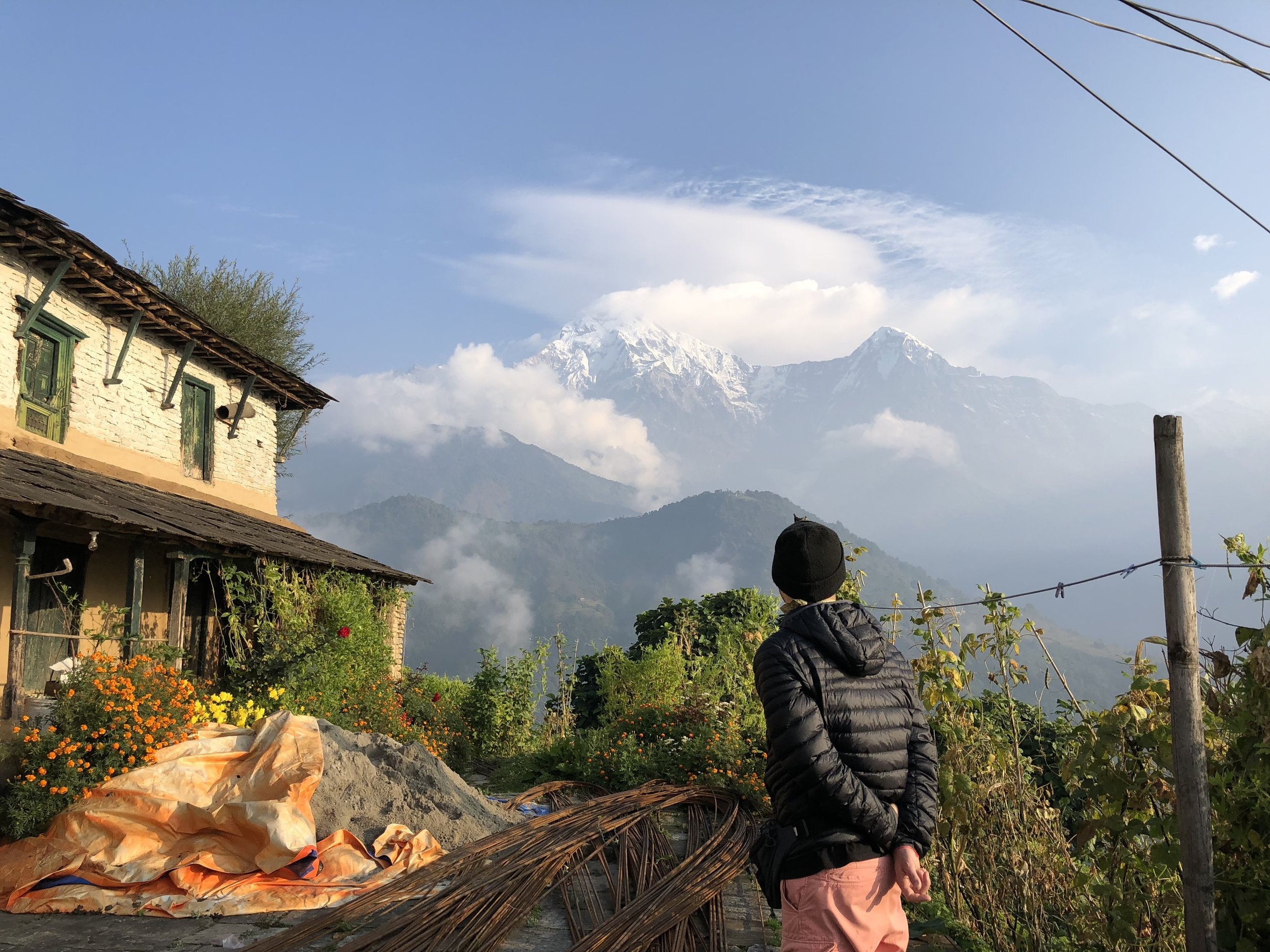 Annapurna South in sunrise as seen from the tea house of Ghandruk village.