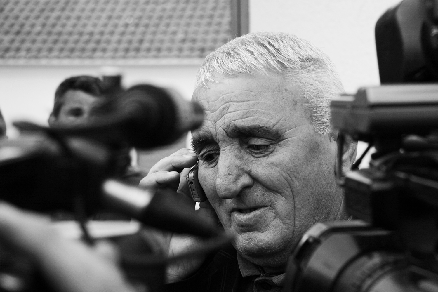 The father of Ramush Haradinaj speaks to his son minutes after he was found not guilty on war crimes and crimes against humanity.