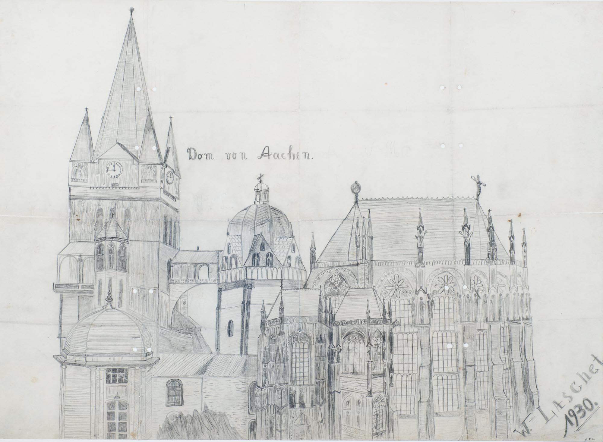 - Dom von Aachen, Bleistiftzeichnung des 10-jährigen auf Papier, 1930, 86,0 x 63,0 cm