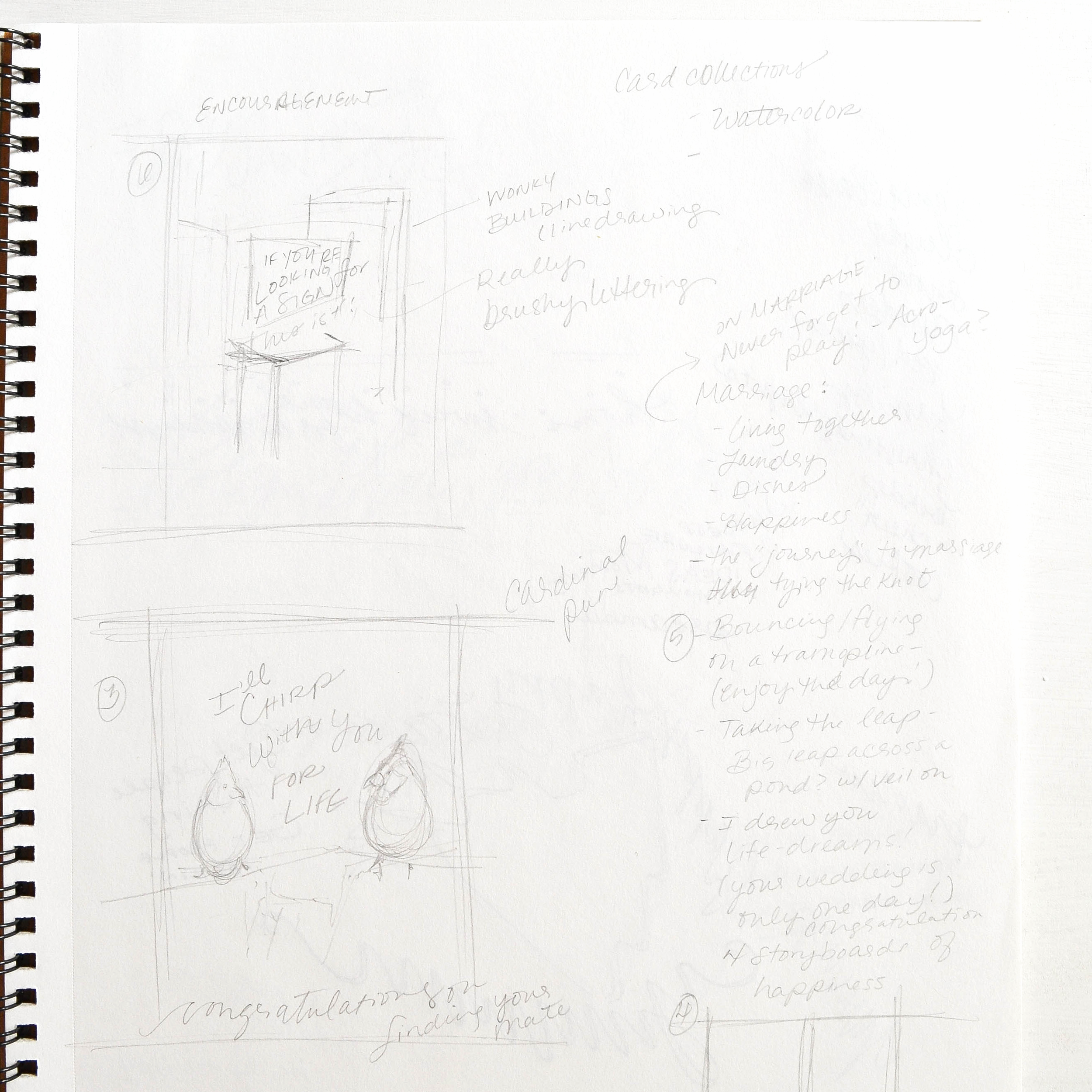 10 | Greeting card brainstorming - lists and thumbnails.