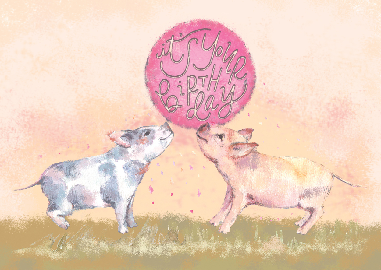 Birthday Pigs Illustration