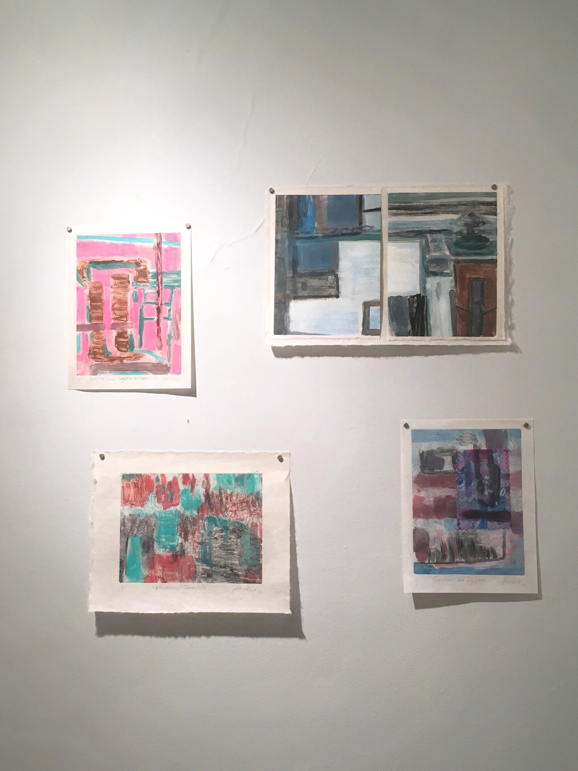 My four prints in the exhibition.