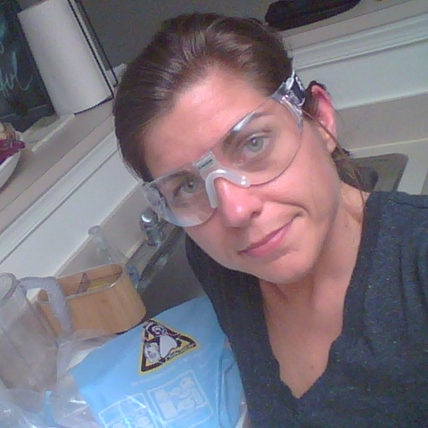 Dry ice experiments in my kitchen. Racquetball goggles for eye-protection. Safety first.