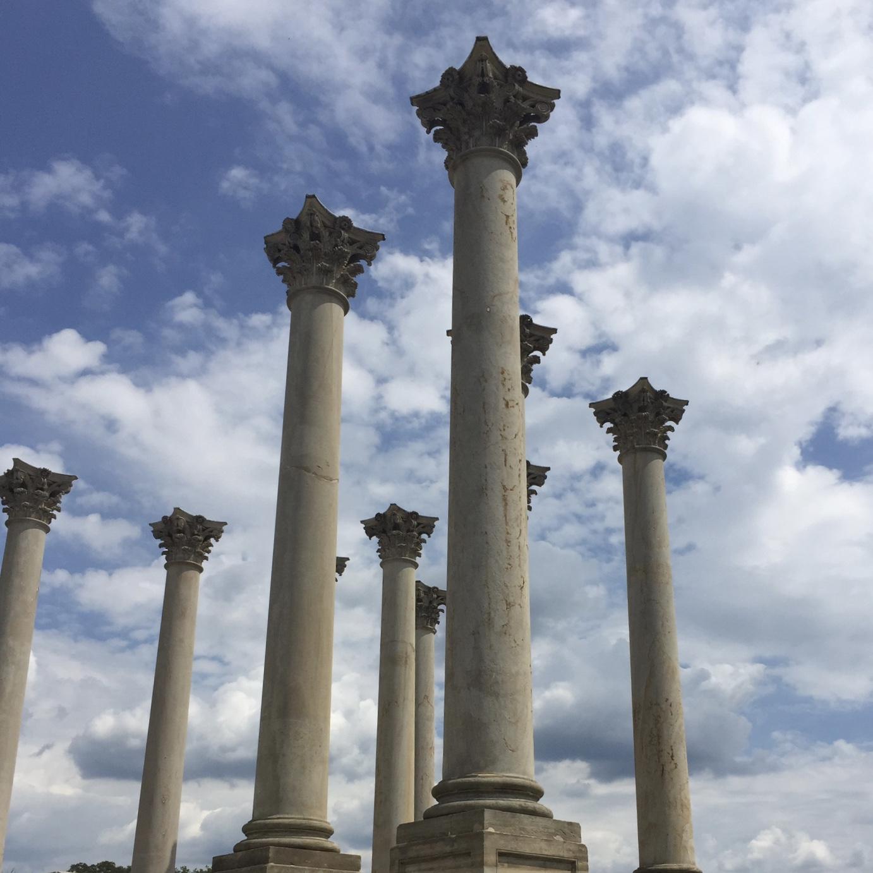 [Photo: Freestanding pillars at the Washington, D.C. Arboritum]