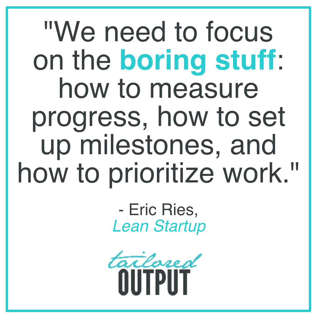 "[Quote: ""We need to focus on the boring stuff: how to measure progress, how to set up milestones, and how to prioritize work."" - Eric Rise,  Lean Startup ]"