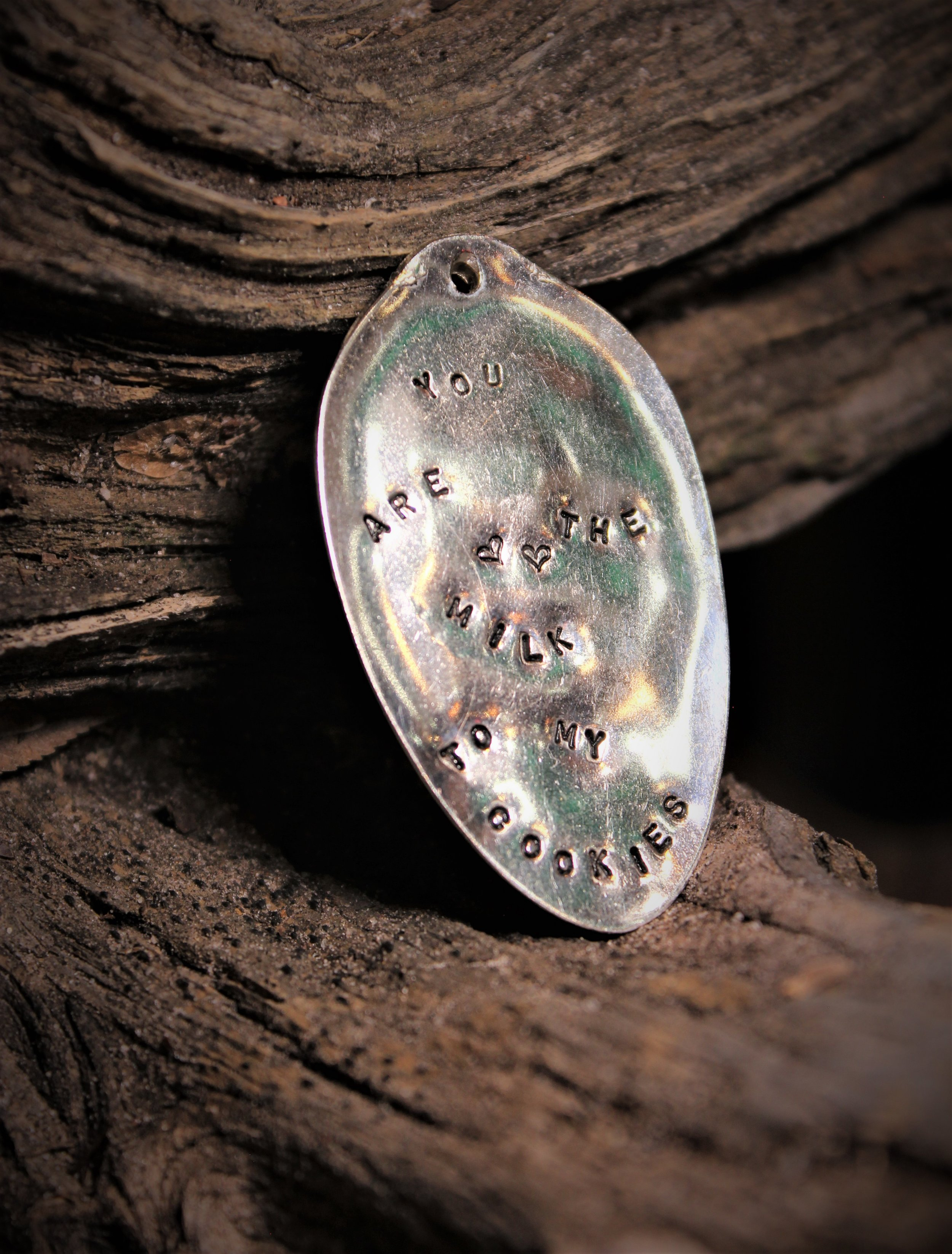 PENDANTS - Each piece has been hand-crafted from vintage silver plated silverware.These pendants can be hand stamped with a special customized quoteor saying creating a special gift for someone you love.