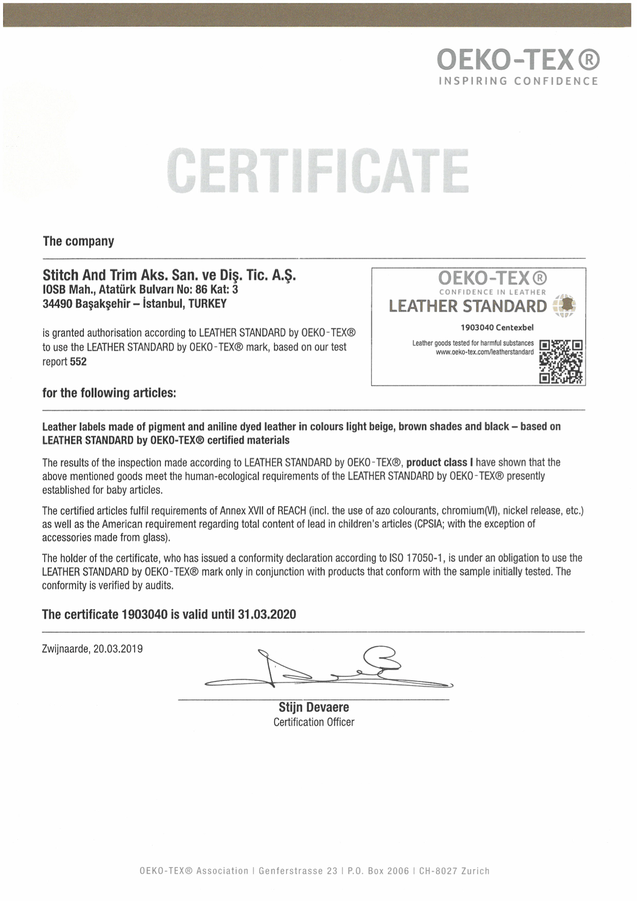 LEATHER CERTIFICATE - PRODUCT CLASS 1