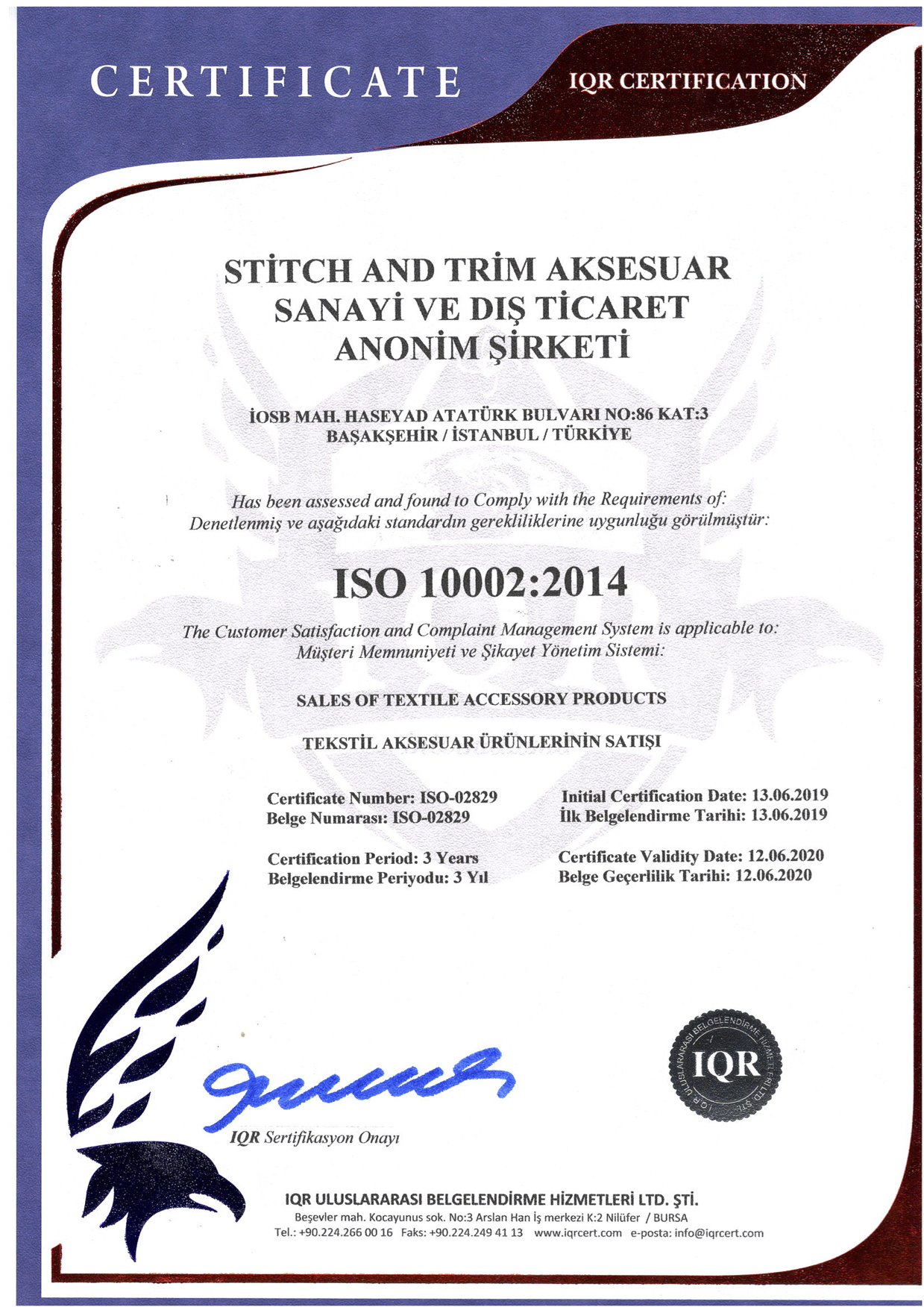 ISO 10002:2014 (THE CUSTOMER SATISFACTION AND COMPLAINT MANAGEMENT SYSTEM)