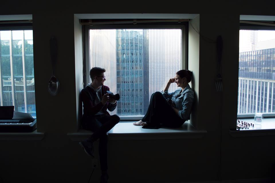 Ryan Maine, founding Editor-in-Chief (Jan 2015 - May 2015), and me on his windowsill - June 2014 Photograph by Hannah Jones