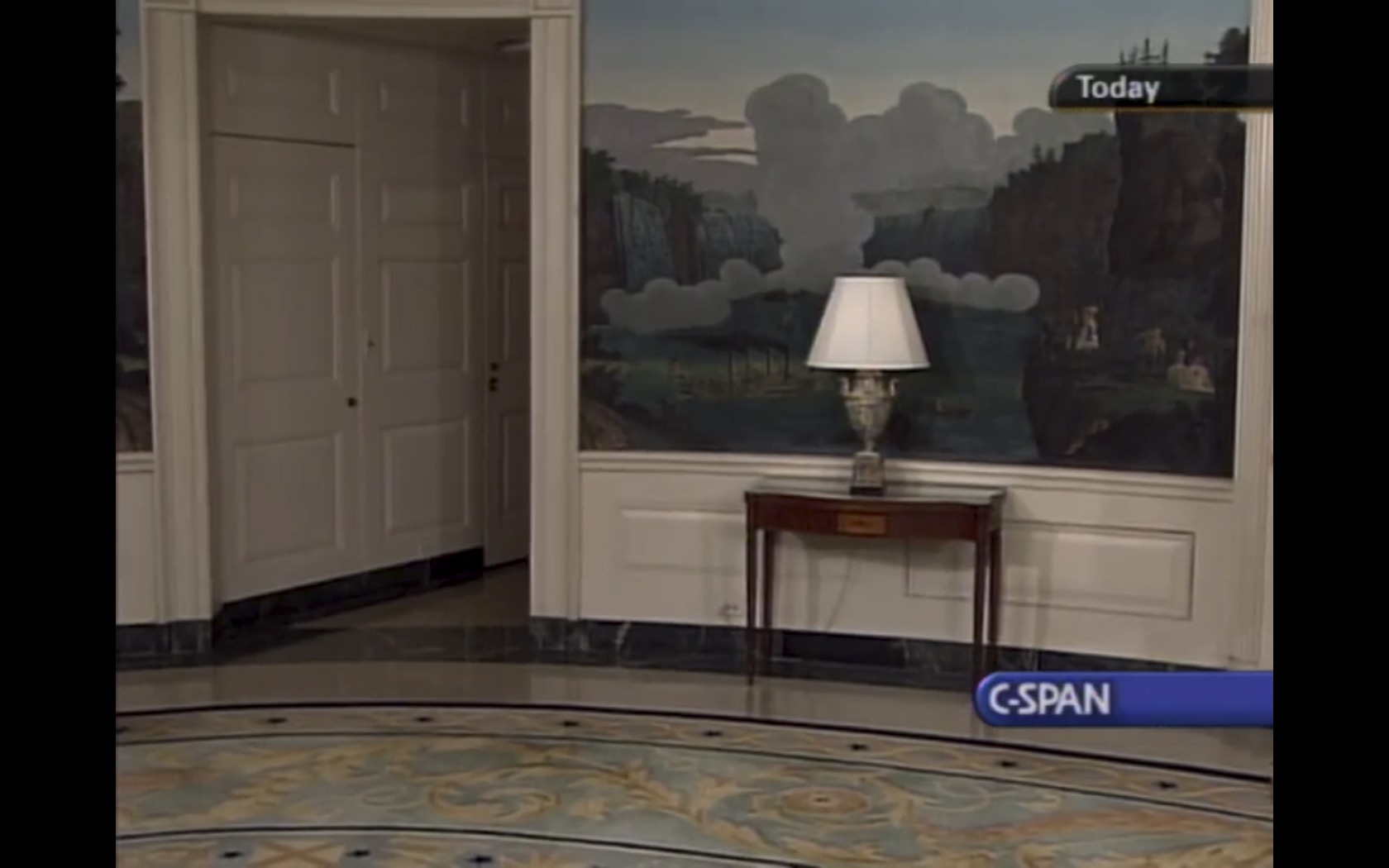 C-Span moments before President George W. Bush arrived to give a speech concerning the Virginia Tech shooting