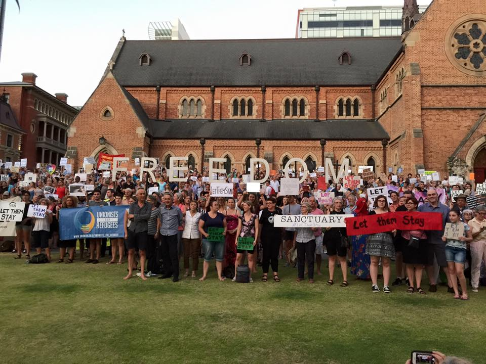 Rally at St George's Cathedral Perth. Photo by: Aisha Novakovich