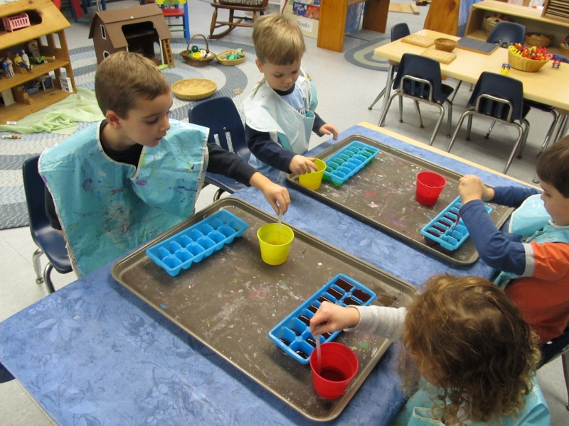 Learning centers develop small motor skills as well as group learning processes