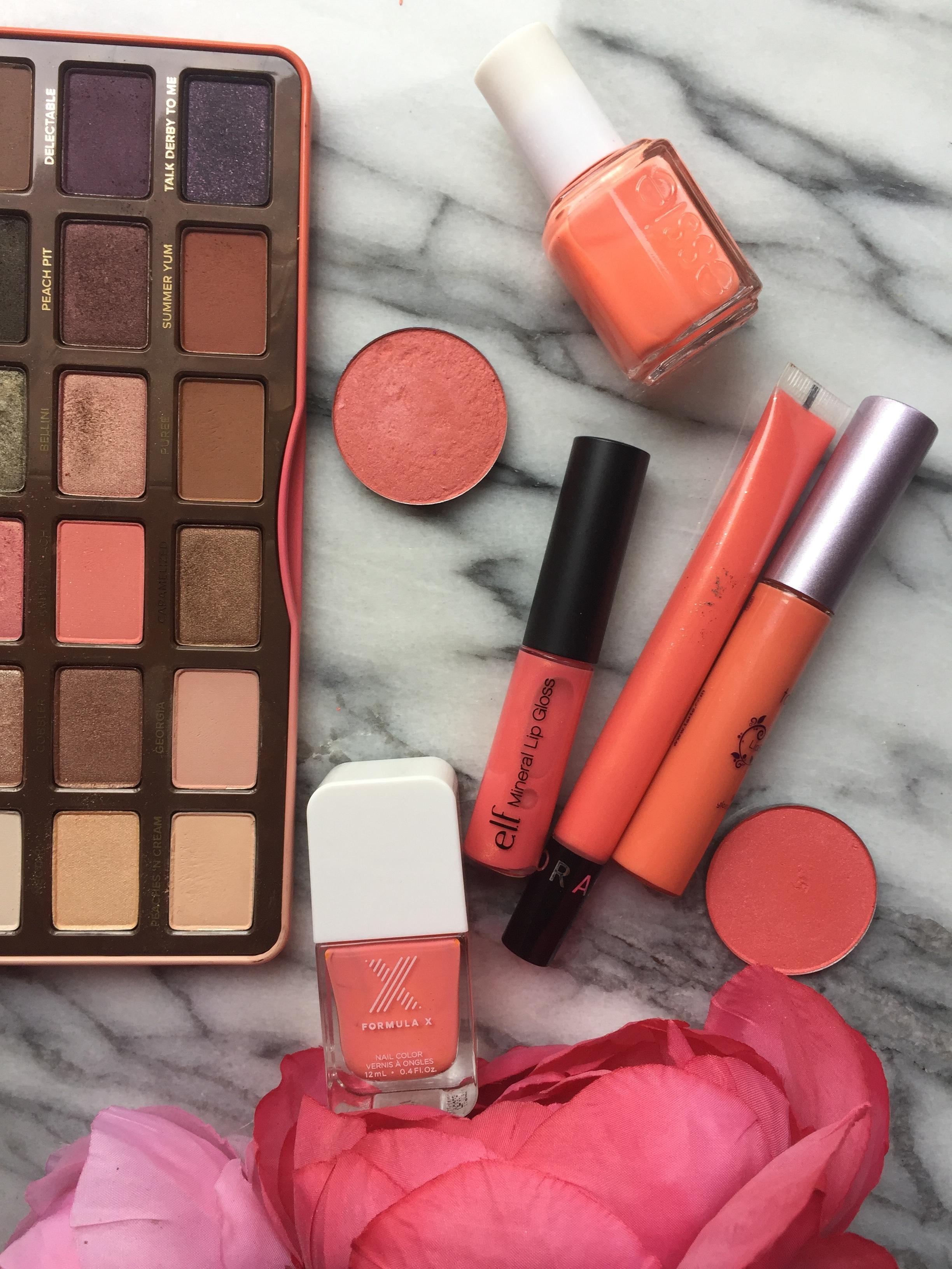 Peach Coral | Sweet Peach Palette, Essie Seriel Shopper, Sephora, Tarte and Formula X