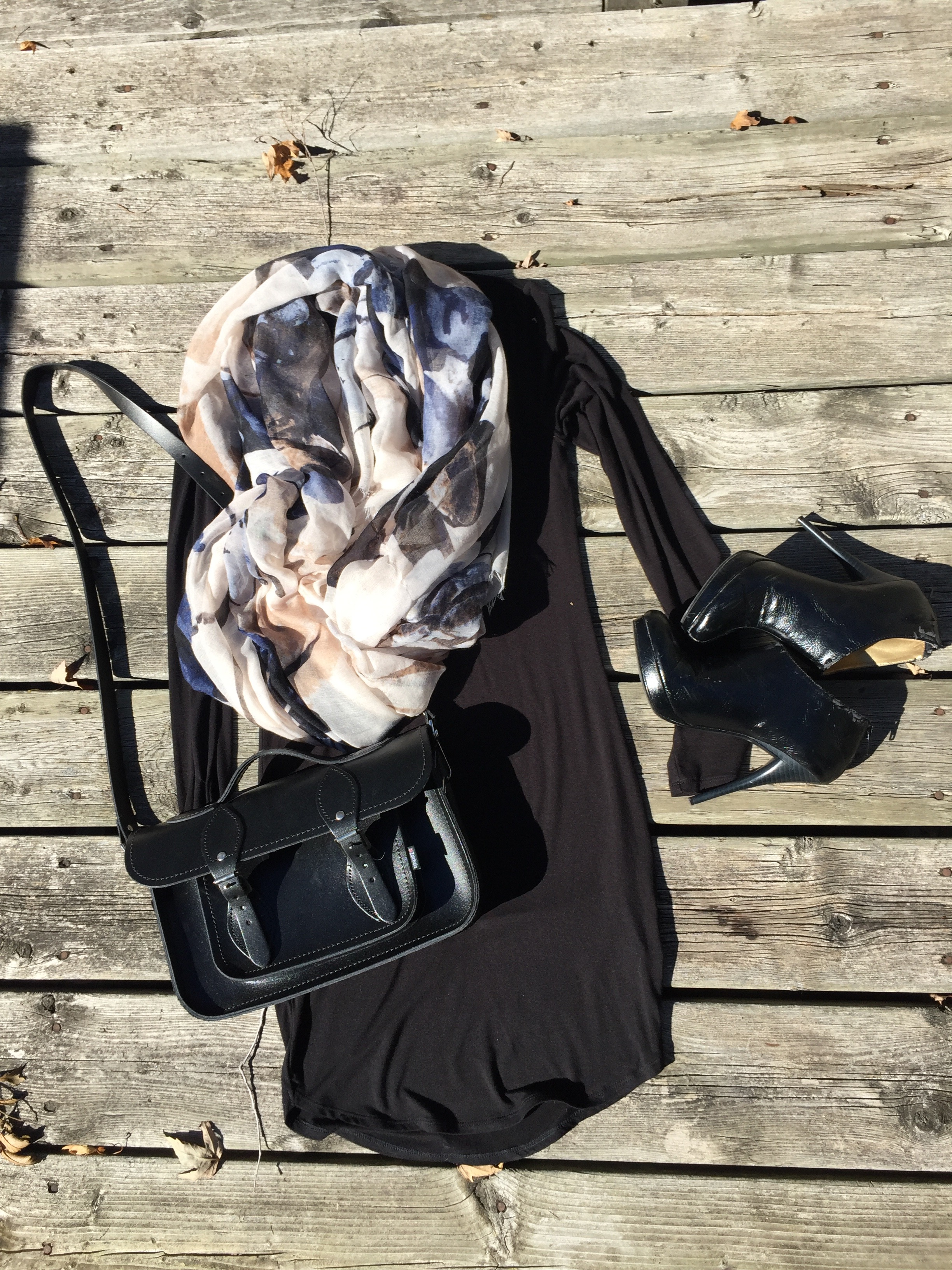 Black Long Sleeve Dress with black booties and messenger style hand bag